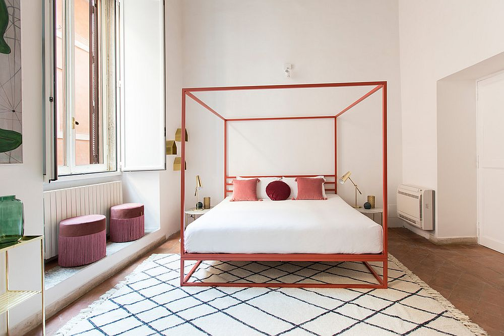 Classy and trendy way of adding coral and shades of pink to the contemporary bedroom