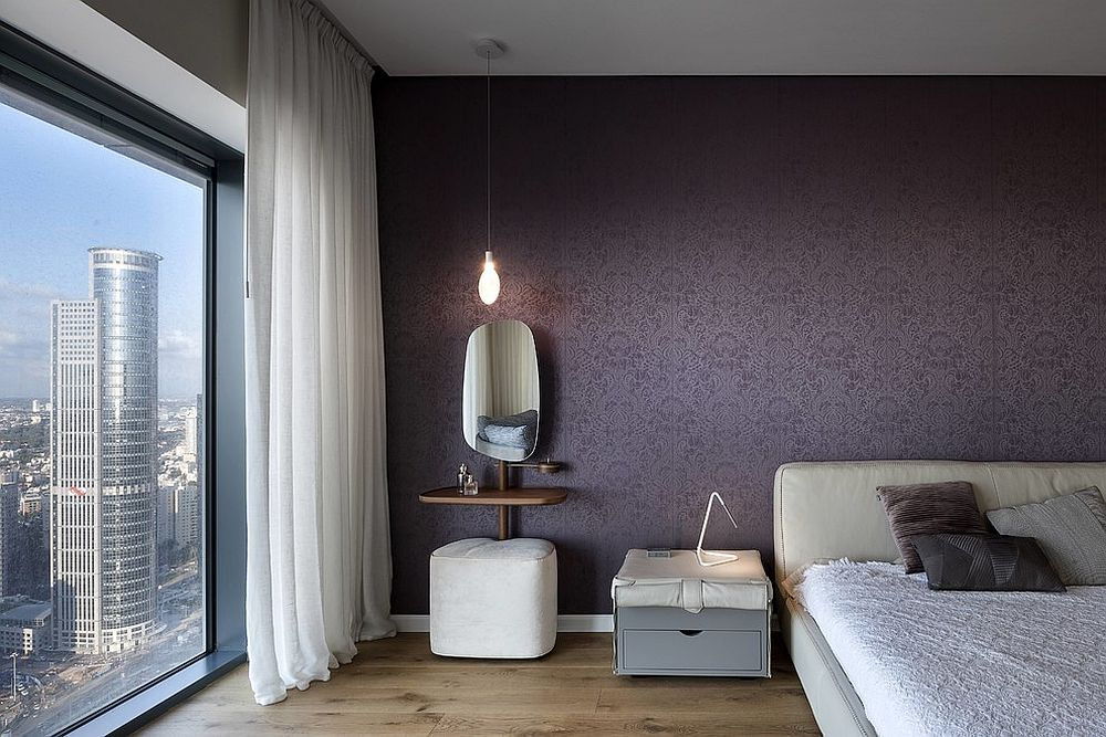 Contemporary bedroom in white and purple is an opulent showstopper