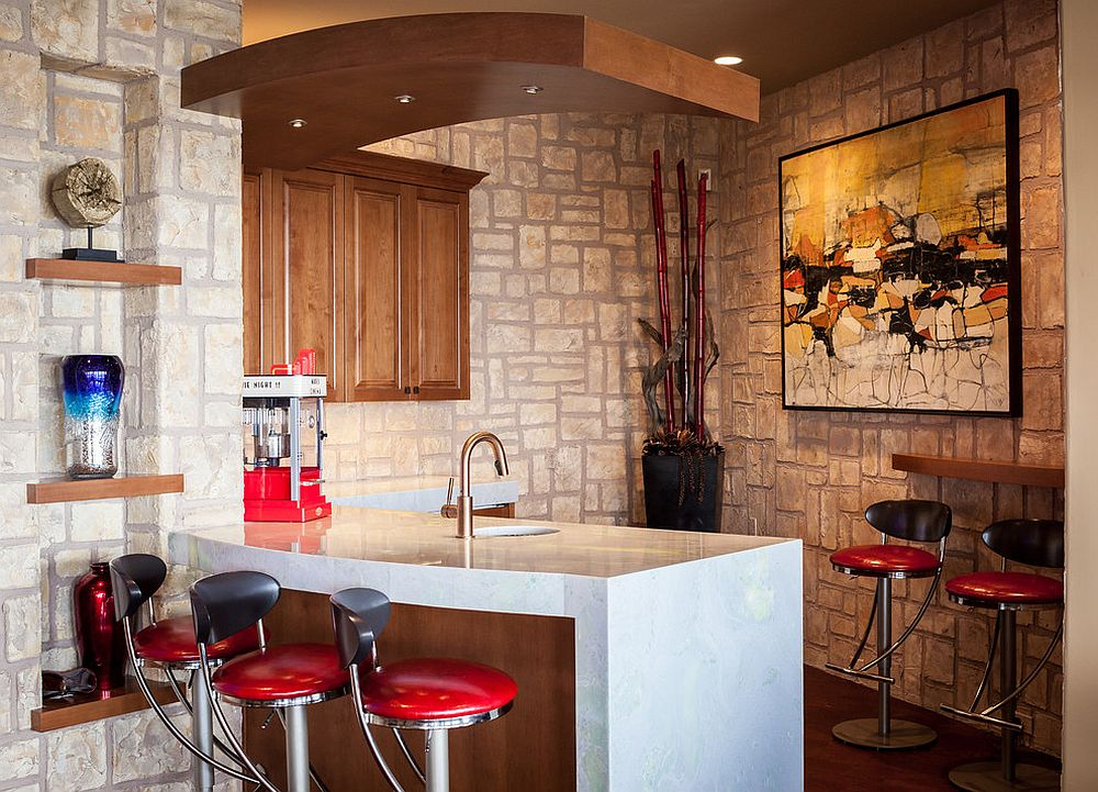 Corner home bar idea with modern Mediterranean style that feels casual