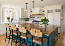 Custom-blue-island-for-the-beach-style-kitchen-in-white-217x155