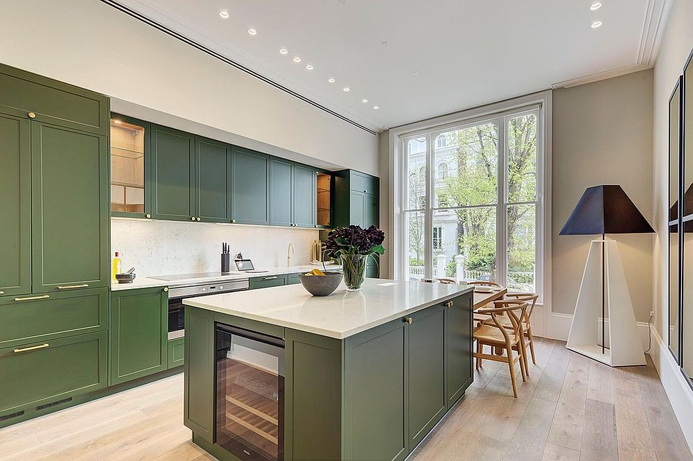 Dark olive green cabinets and island for the modern kitchen