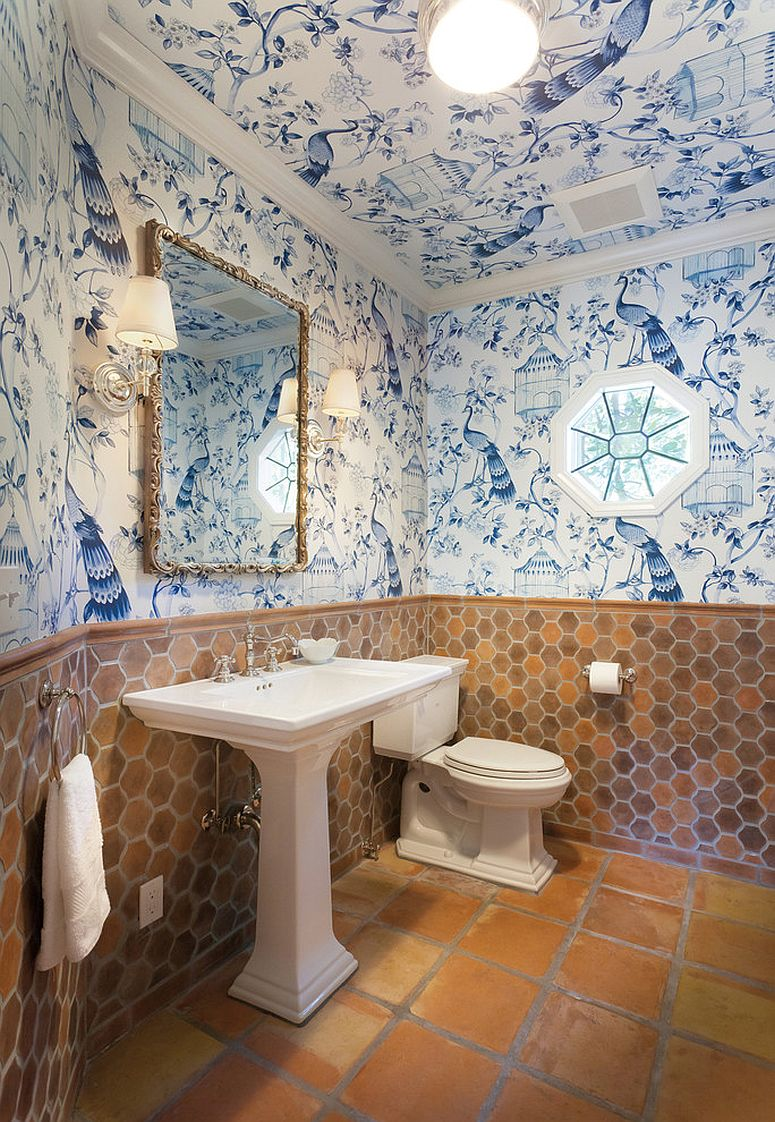 Eclectic mix of color, pattern and texture in the tiny bathroom full of life