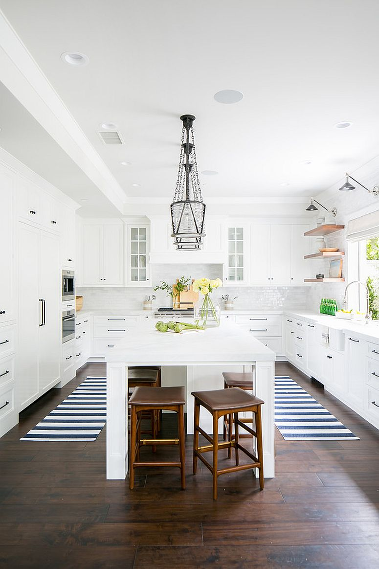 Exquisite and bright beach style kitchen in white