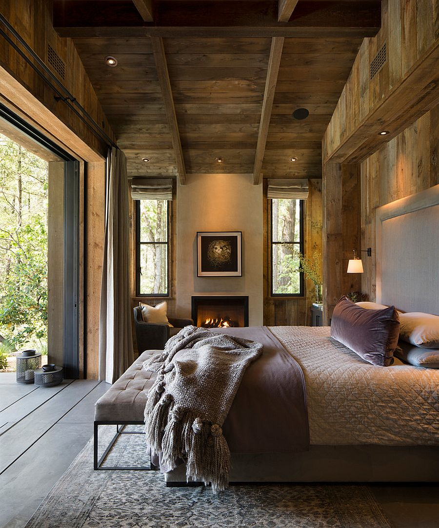 Farmhouse and rustic styles coupled with modern overtones in the bedroom