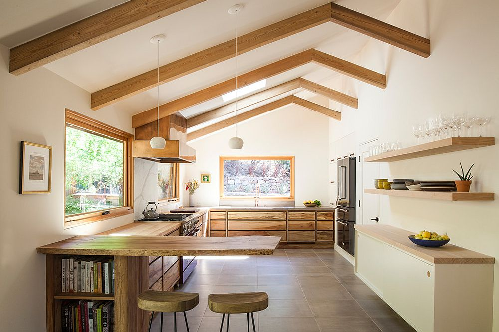 Finding the balance between modernity and farmhouse styles in the spacious white kitchen