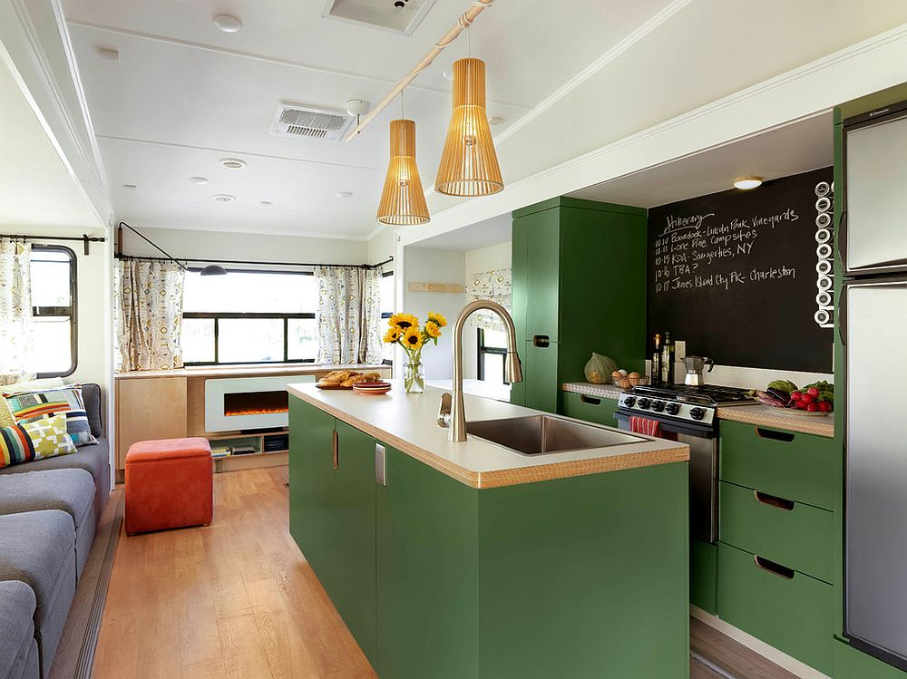 Finding the right shade of green for your midcentury modern kitchen in open plan living