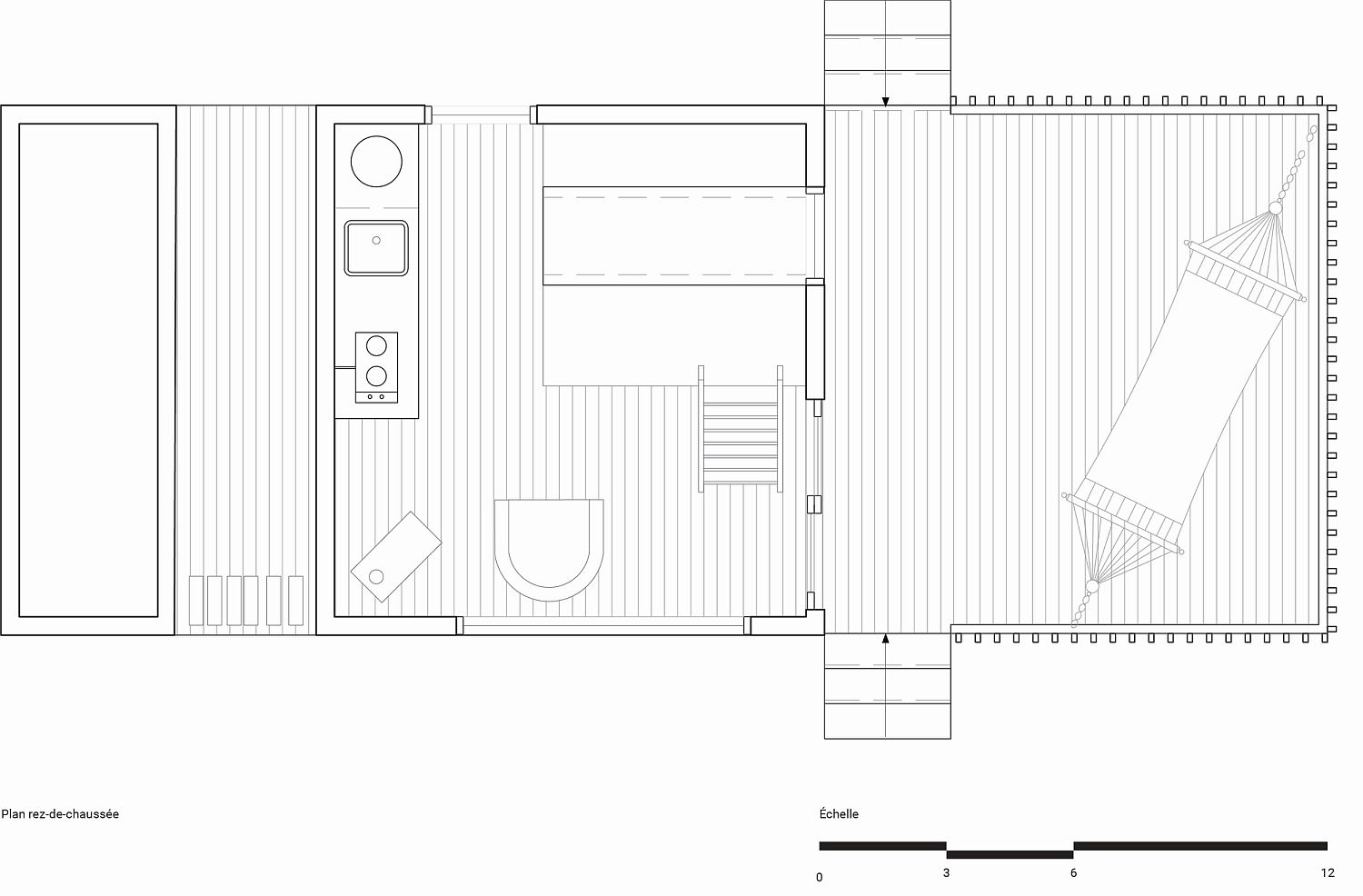 Floor plan of ready-to-camp micro shelter in Quebec