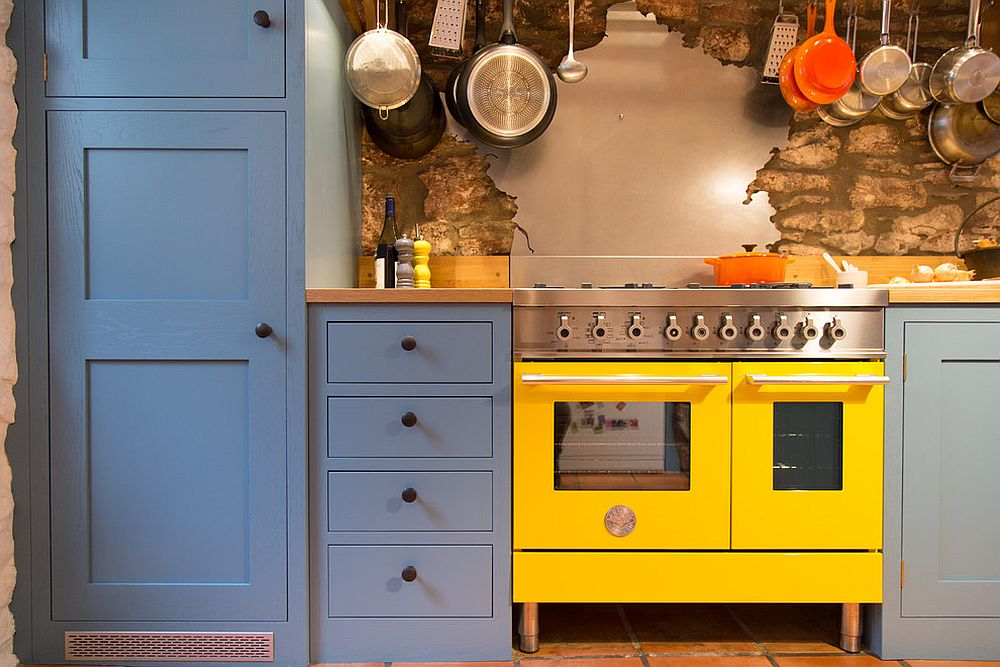 Fun use of color in the kitchen makes a big visual impact