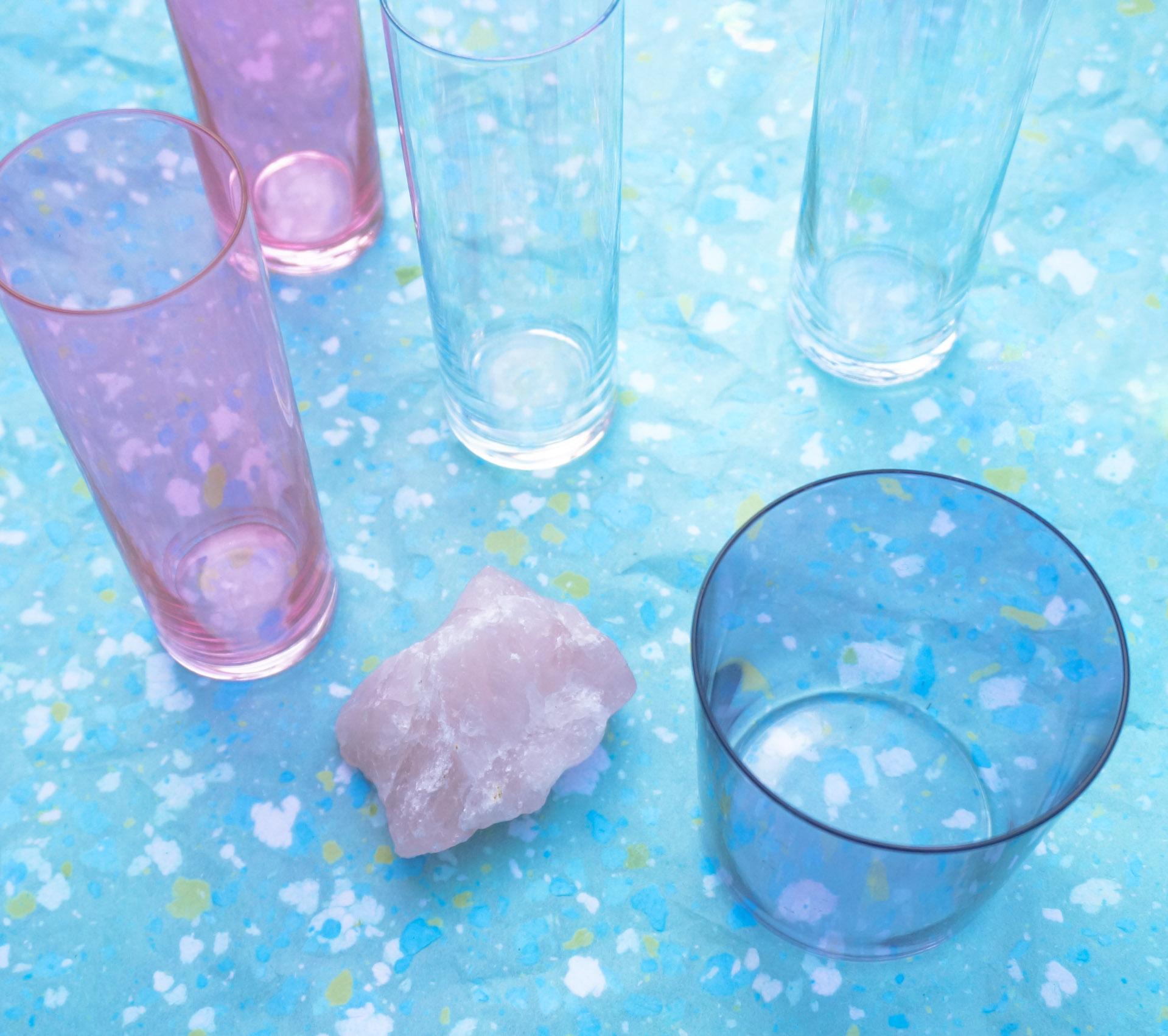 Glassware and rose quartz
