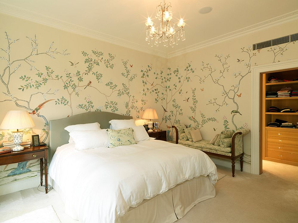 Gorgeous hand-painted wallpaper for the traditional bedroom in neutral hues