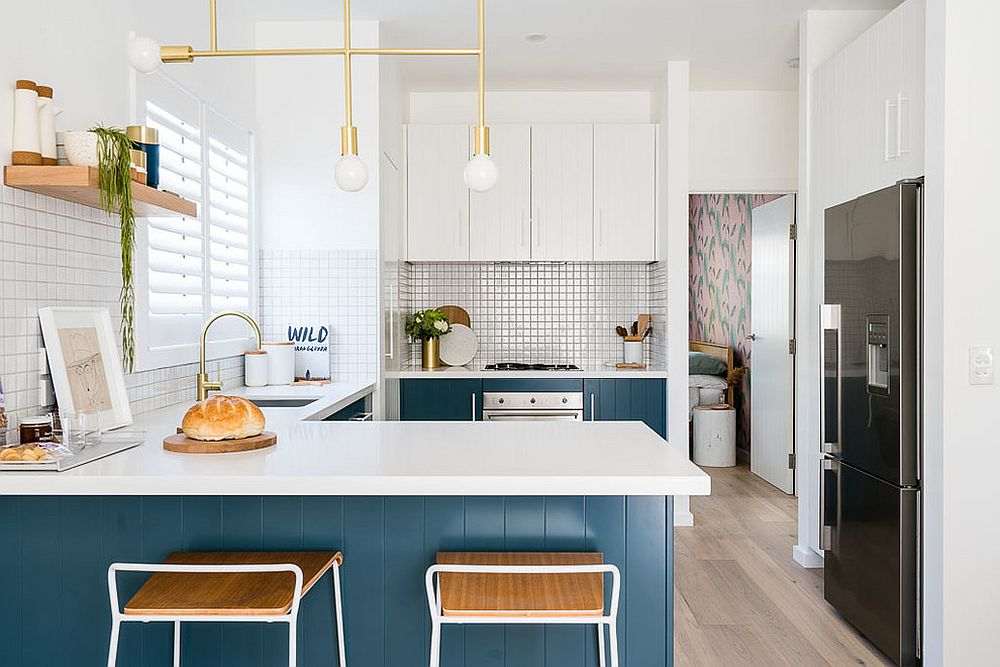 Gorgeous modern beach style kitchen in blue and white