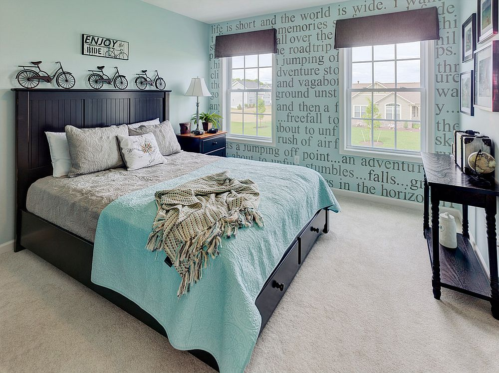 Gorgeous modern bedroom in light blue and black