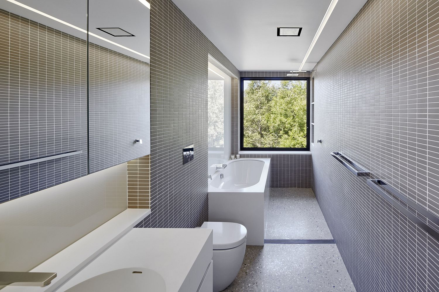 Gray and white contemporary bathroom of Rural Retreat