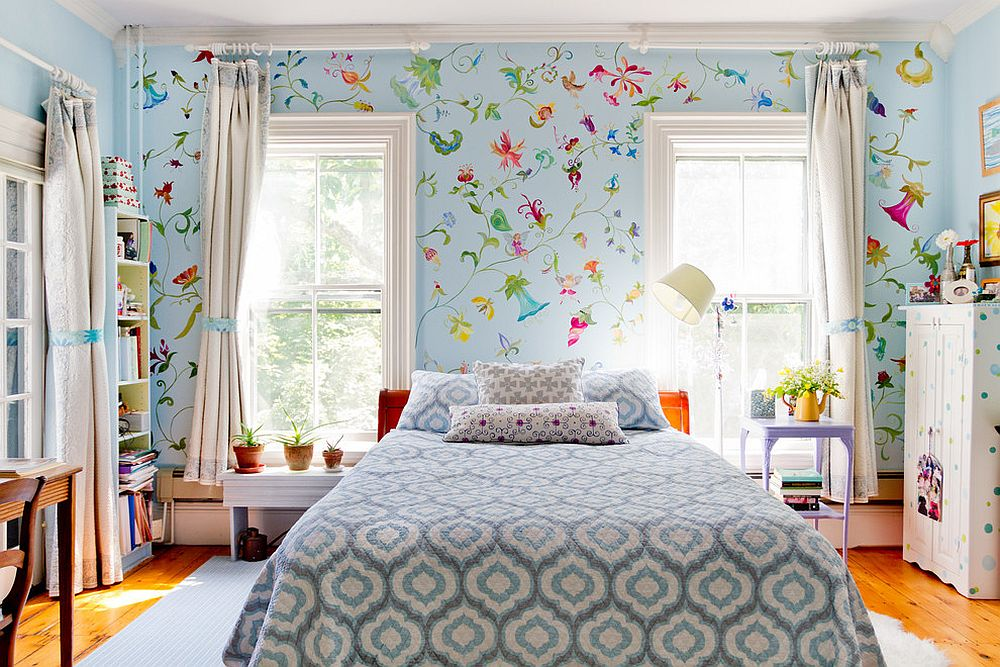 Hand-painted wallpaper adds plenty of color and freshness to the bedroom