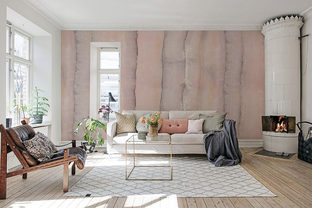 Innovative way to add pink to the unique Scandinavian style living room