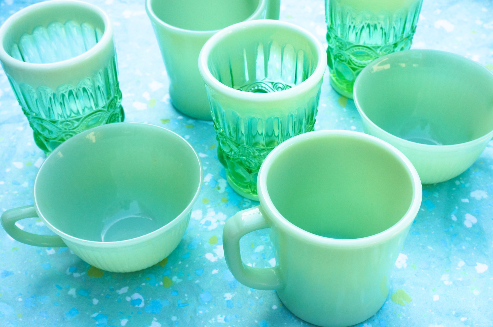 Jadeite mixed with glassware from Anthropologie