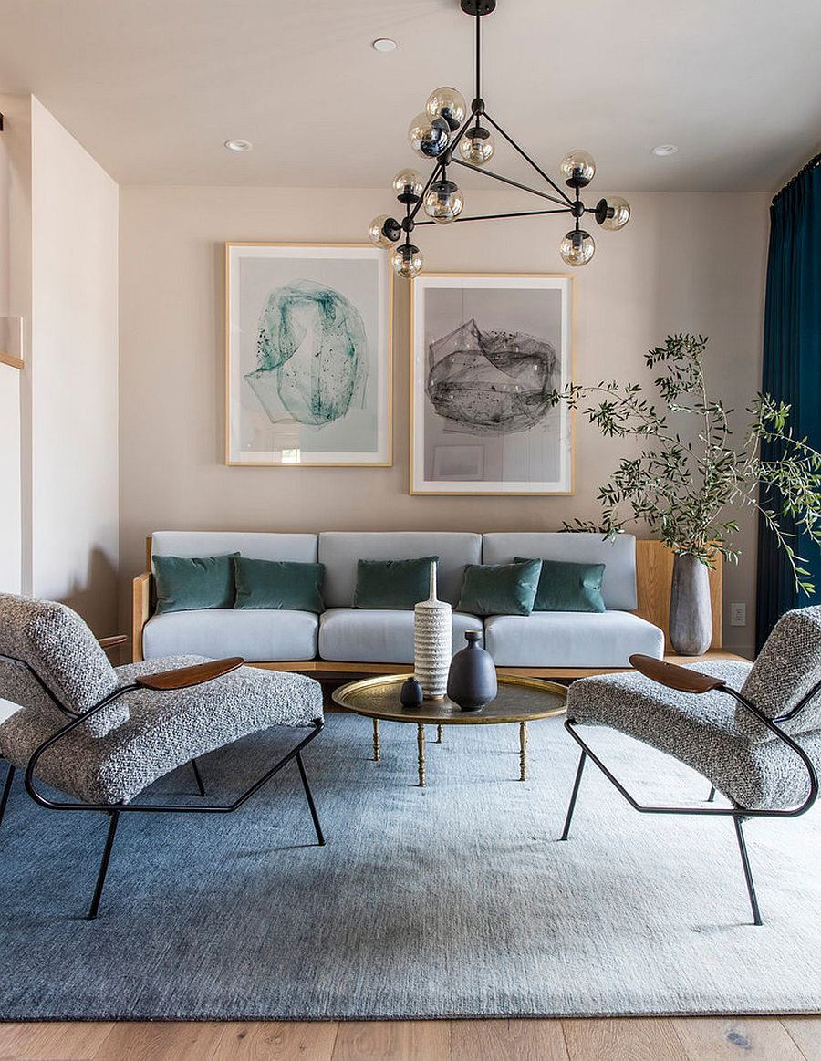 Lighter shades of pink give the living room a more inviting look