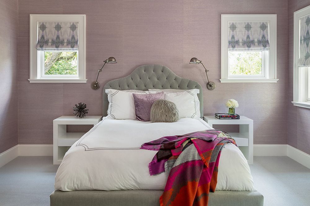 Lighter shades of purple paint a serene picture in the bedroom