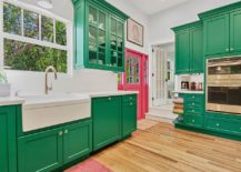 Lovely-use-of-green-cabinets-in-the-white-contemporary-kitchen-with-ample-natural-light-217x155