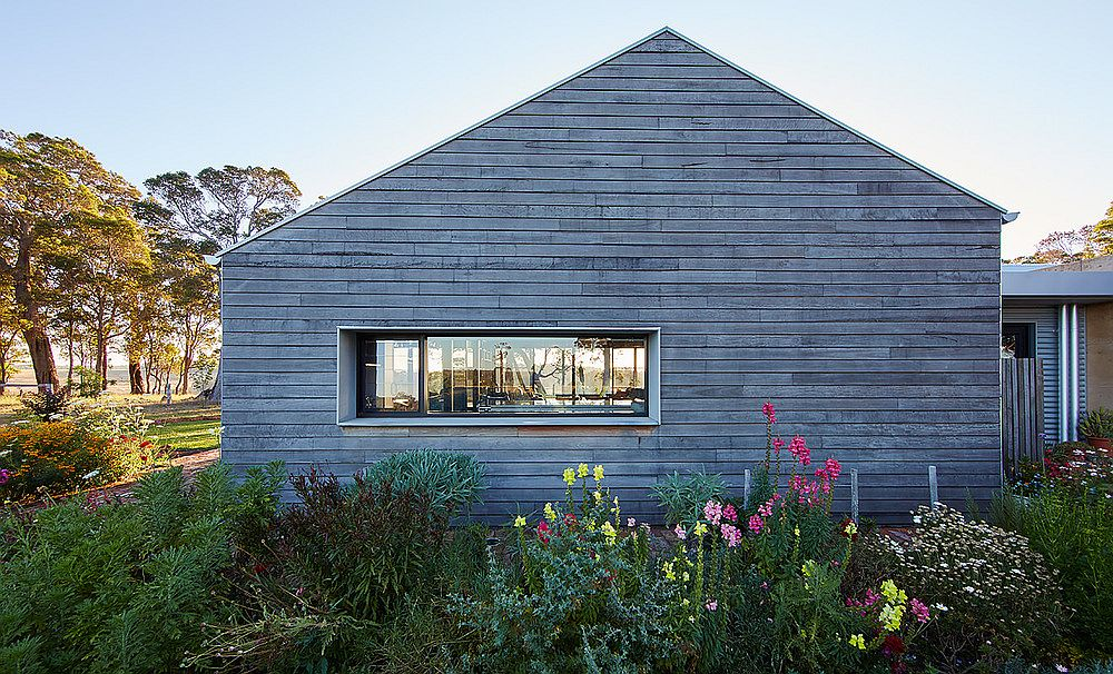 Oiled timber cladding shapes the exterior of the house
