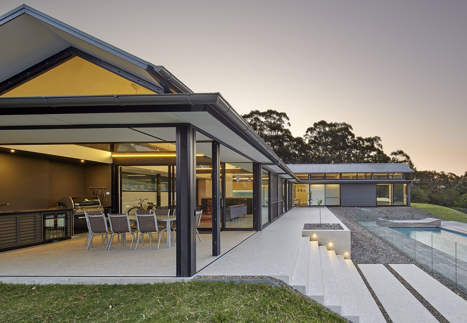 Open pavilions and pool deck of the sustainable Aussie home