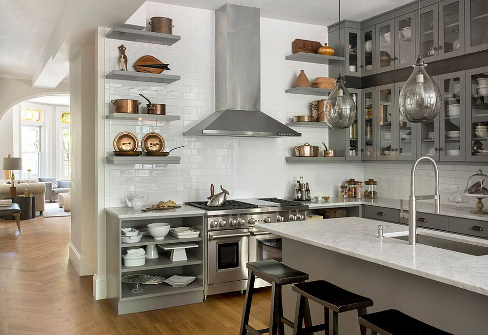 Open shelves along with pots and pans on display make a trendy kitchen statement