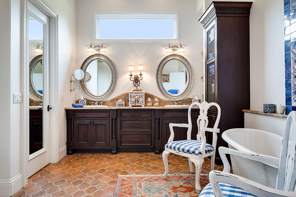 Perfect modern Mediterranean bathroom in white with terracotta floor tiles
