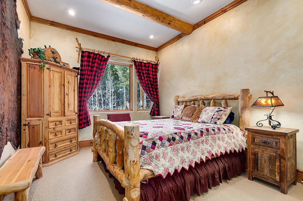 Plaid drapes for the modern rustic bedroom with textured walls