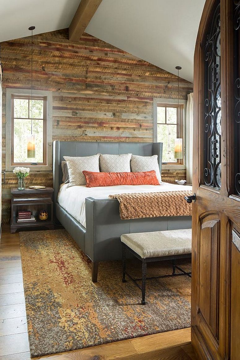 Recycled wooden planks bring smart warmth and rustic charm to the modern bedroom