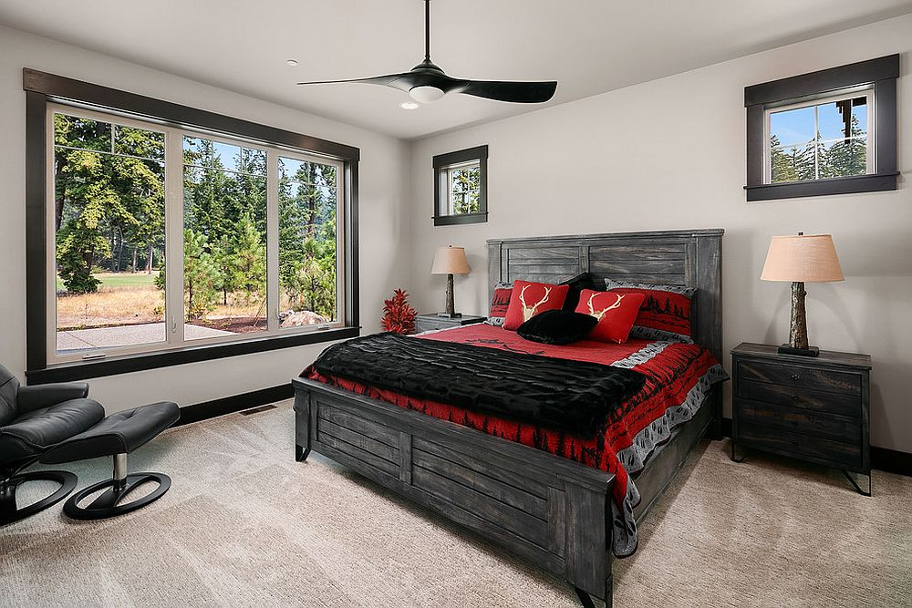 Red and black bedding for the smart modern rustic bedroom