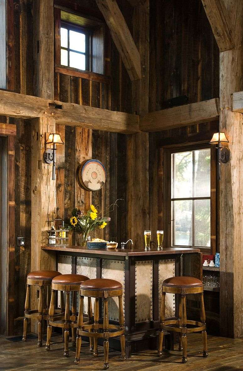 Rustic home bar with bar stools that are exquisite and have a leather covering