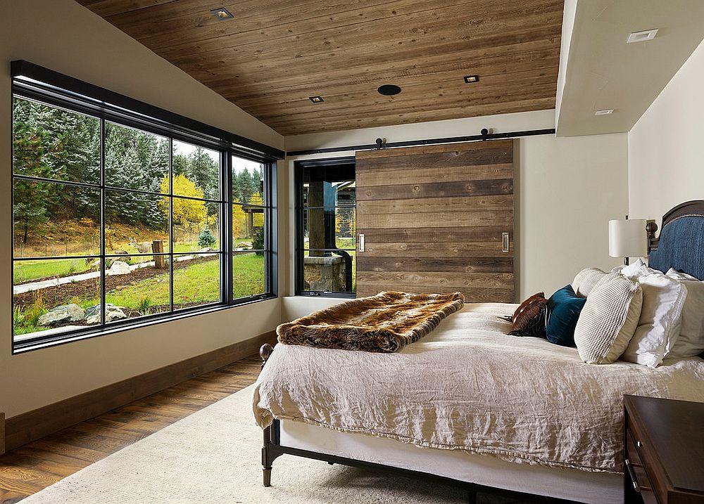 Sliding barn style door for the modern rustic bedroom