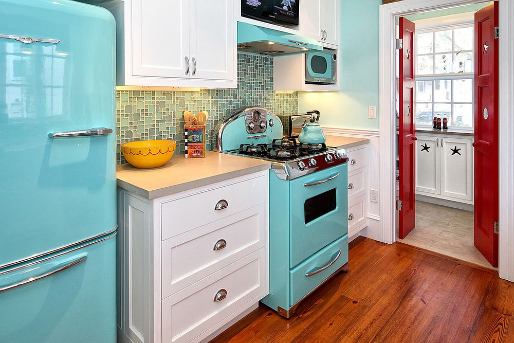 Small kitchen with blue appliances is a showstopper