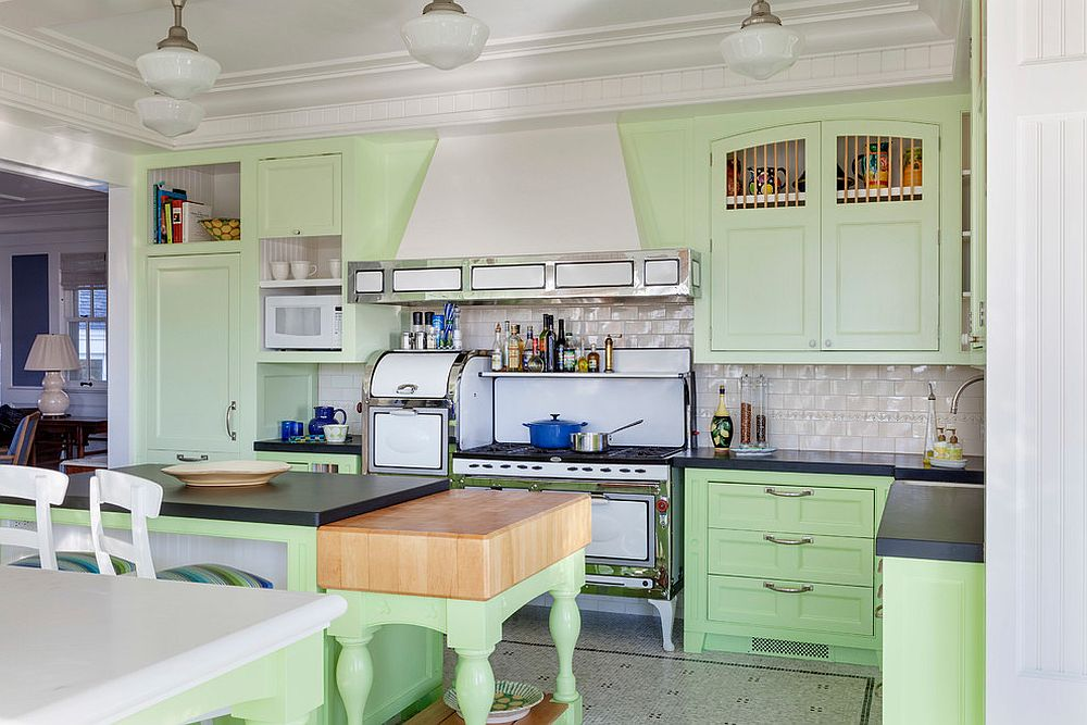 Smart beach style kitchen in pastel green and white