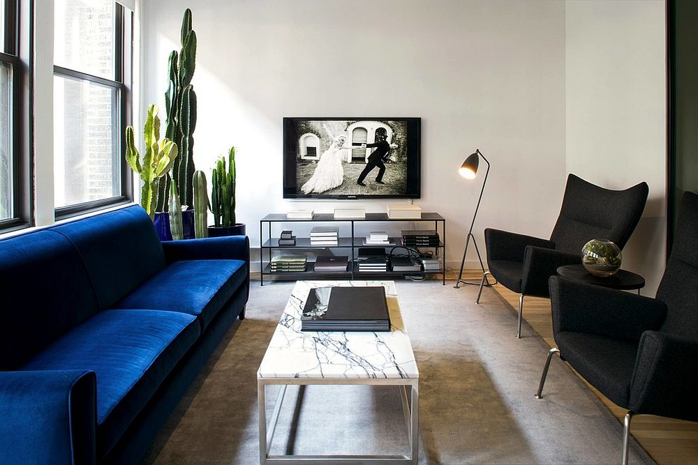 Smart blend on blue and black in the contemporary white living room