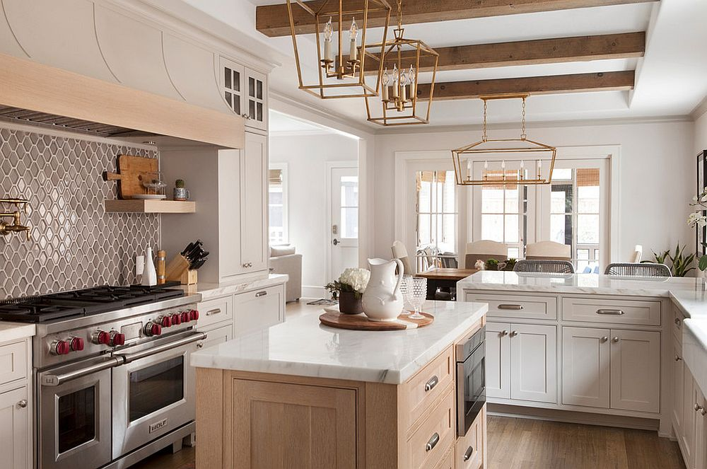 Smart farmhouse kitchen in white and wood with beautiful tiled backsplash