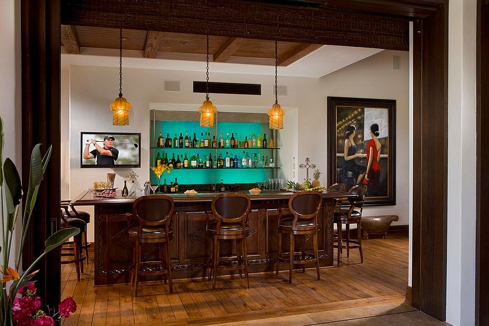 Spanish colonial style copuled with Mediterranean overtones in the beautiful home bar