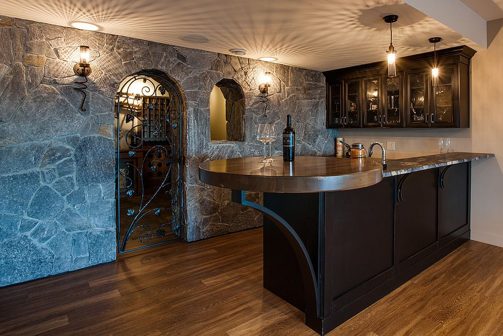 Stone walls and snazzy lighting for the wonderful Mediterranean style home bar