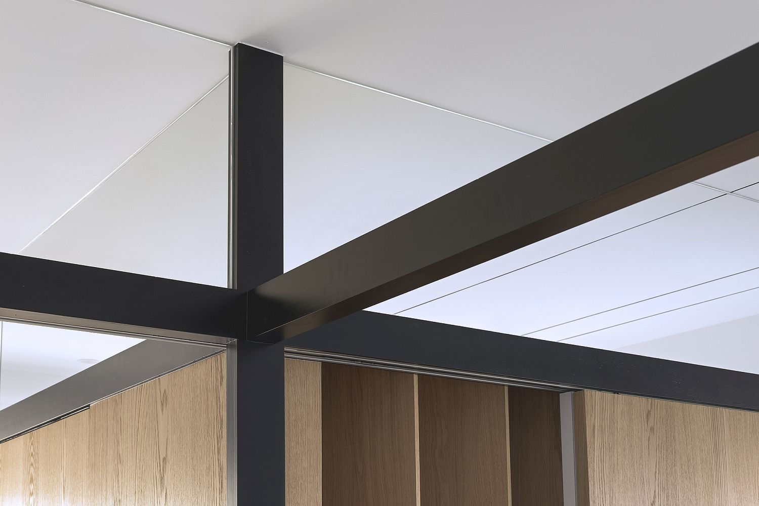 Structural steel beams inside the apartment