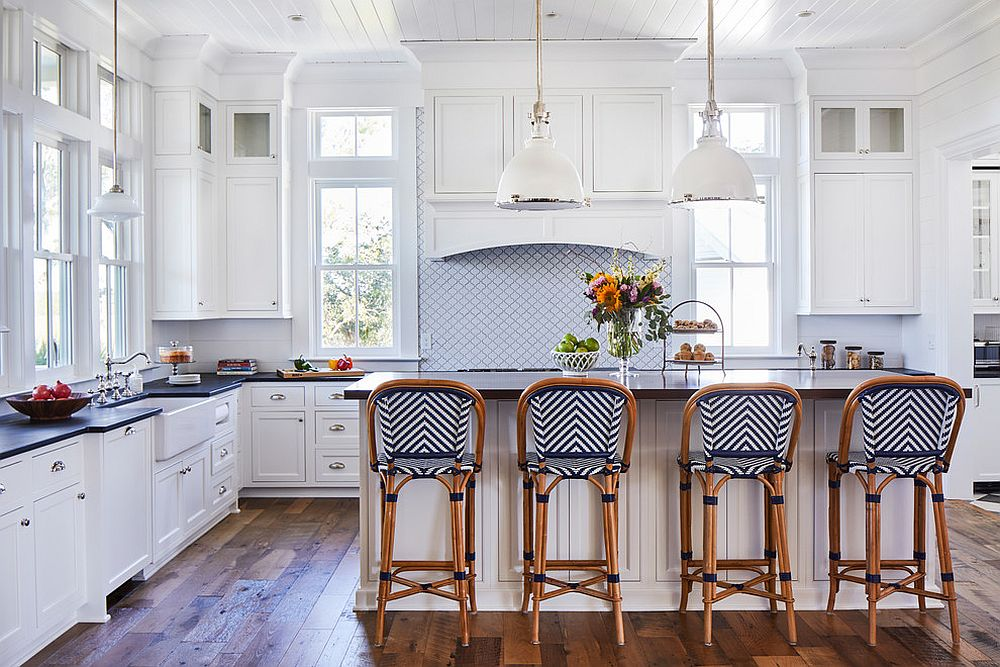 Subtle use of pattern adds class to this beach style kitchen