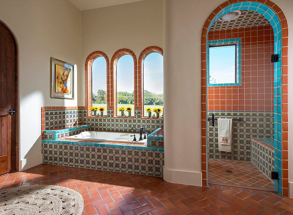 Terracotta tiles bring warmt, color and classic appeal to the bathroom