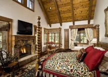Timeless-rustic-bedroom-embraces-textural-contrast-and-an-overload-of-pattern-217x155