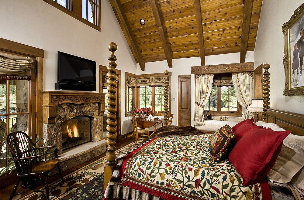 Timeless-rustic-bedroom-embraces-textural-contrast-and-an-overload-of-pattern