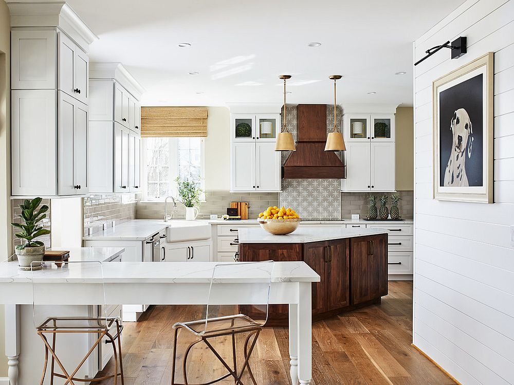 Tone down on the woodsy element to give the kitchen a more modern vibe