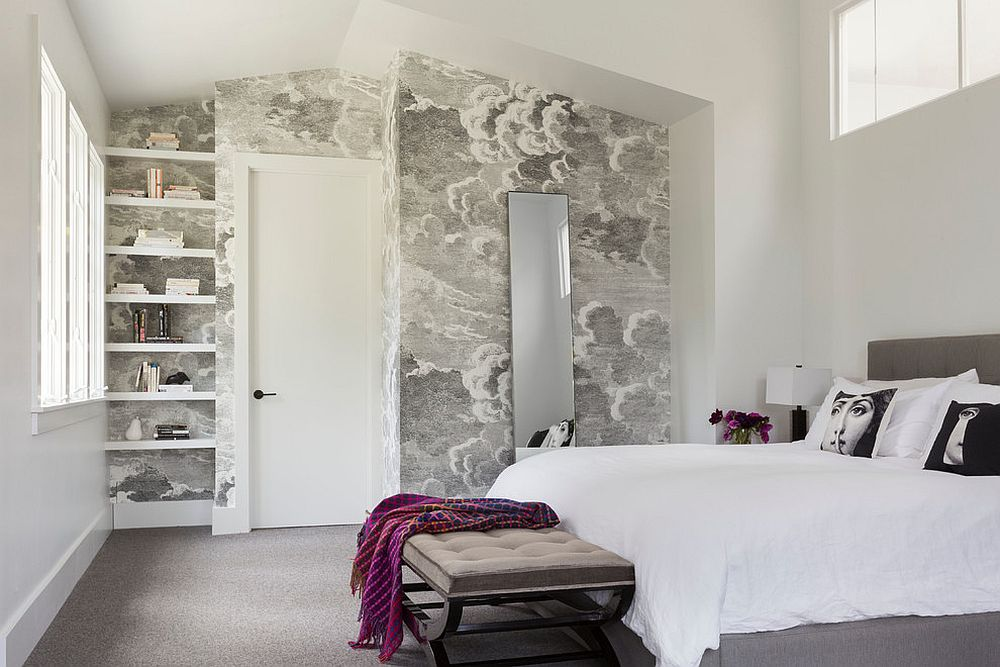 Wall murals that act as wallpaper make a big difference in the bedroom