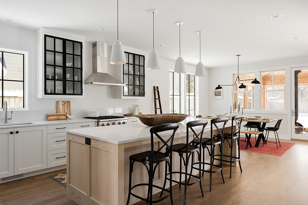 White and wood kitchen with modern farmhouse style with ample natural ventilation