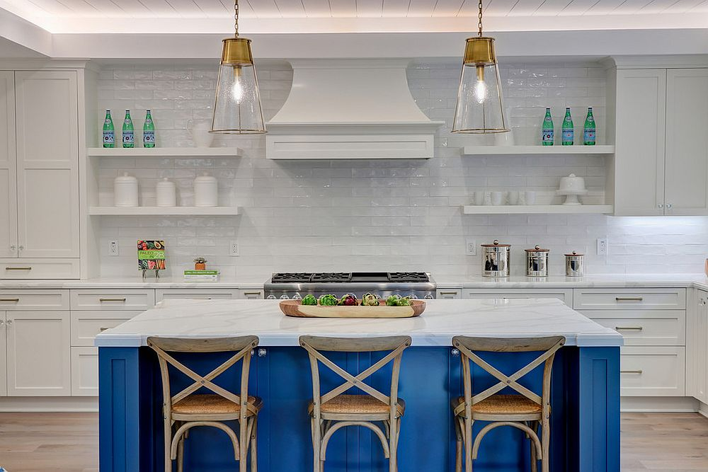 White subway tiles and blue kitchen island for the becah style space