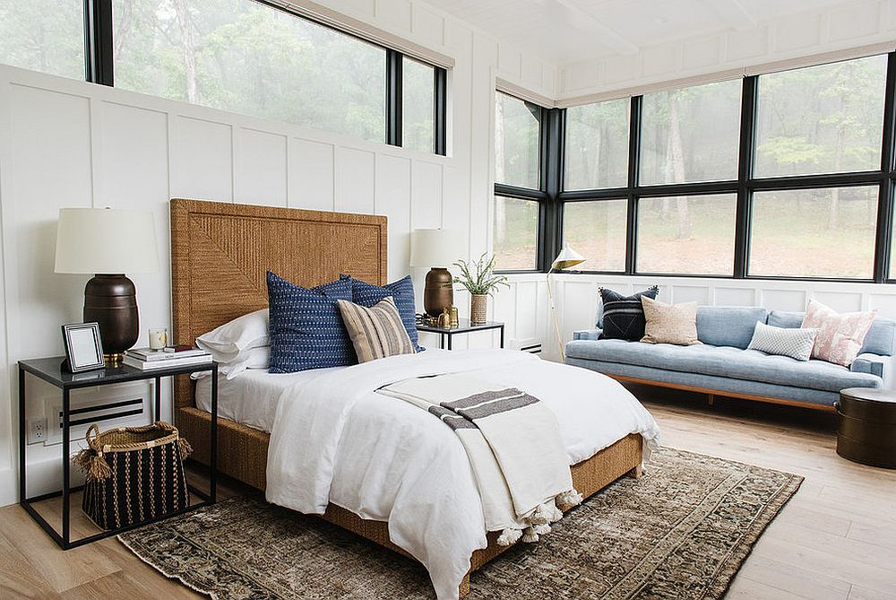 Window frames add a touch of black the serene bedroom in white and wood