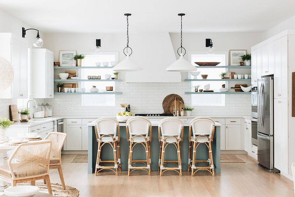 Wood and white kitchen design with a hint of blue for the island