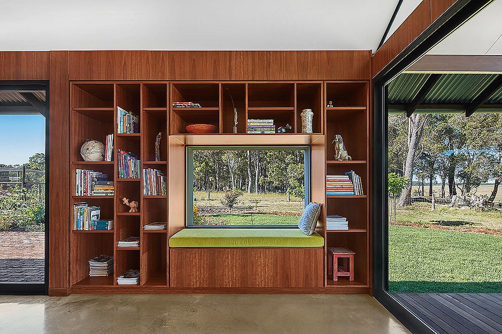 Wooden shelves and TV entertainment unit of the farm house